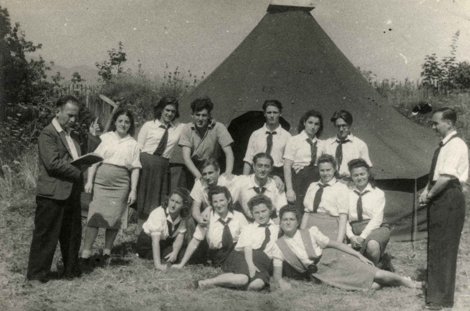 Teenage survivors gather in the Gieszcze Puste summer camp.    Ita Shapiro is pictured in the top row, second from the right.