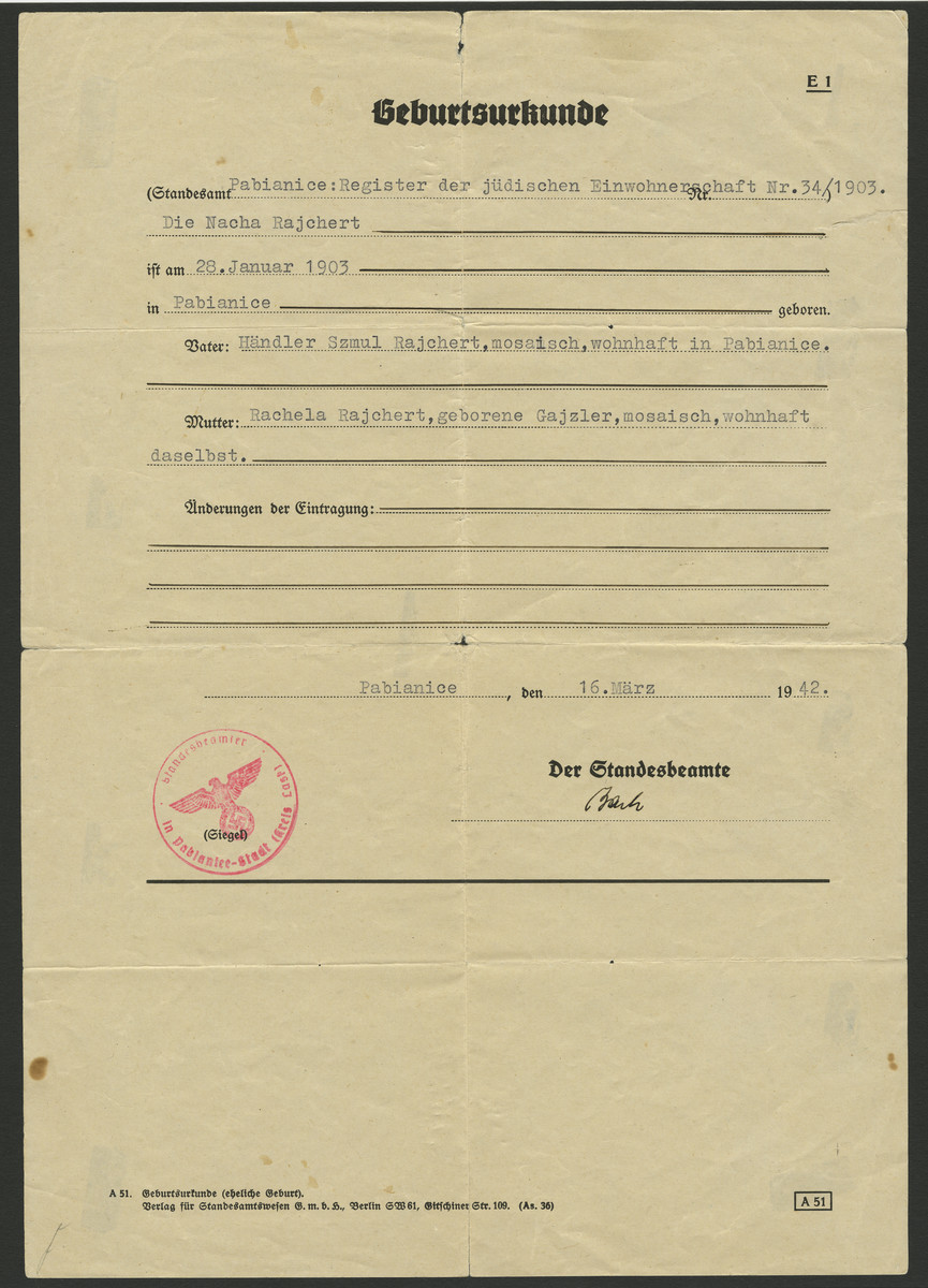 Registration paper for foreign born Jews living in Germany issued to Nacha Reichert.