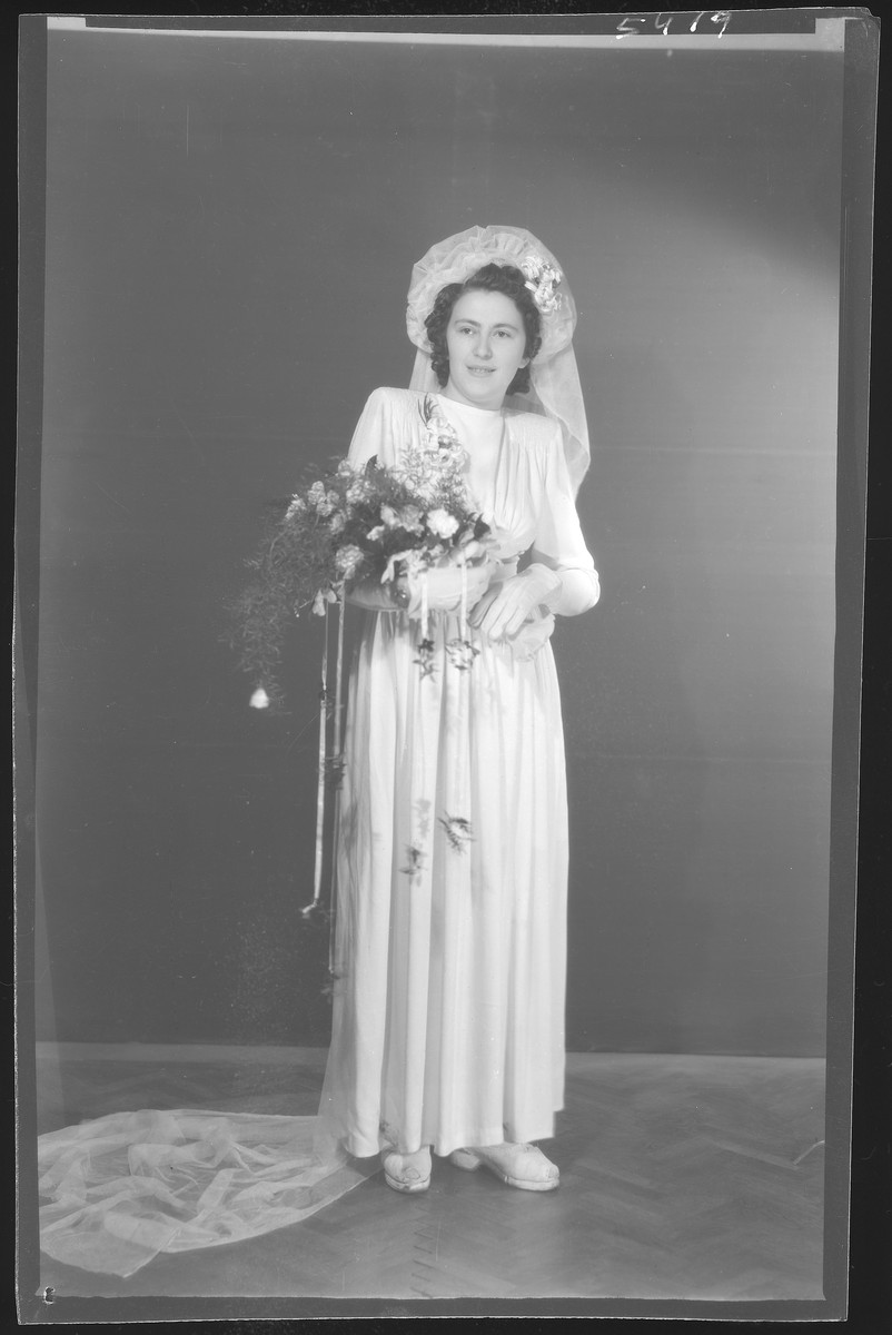 Bridal portrait of Sari (Izsakne) Rosenfeld. She was the wife of Izsak Rosenfeld  Sara Rosenfeld perished in Auschwitz.