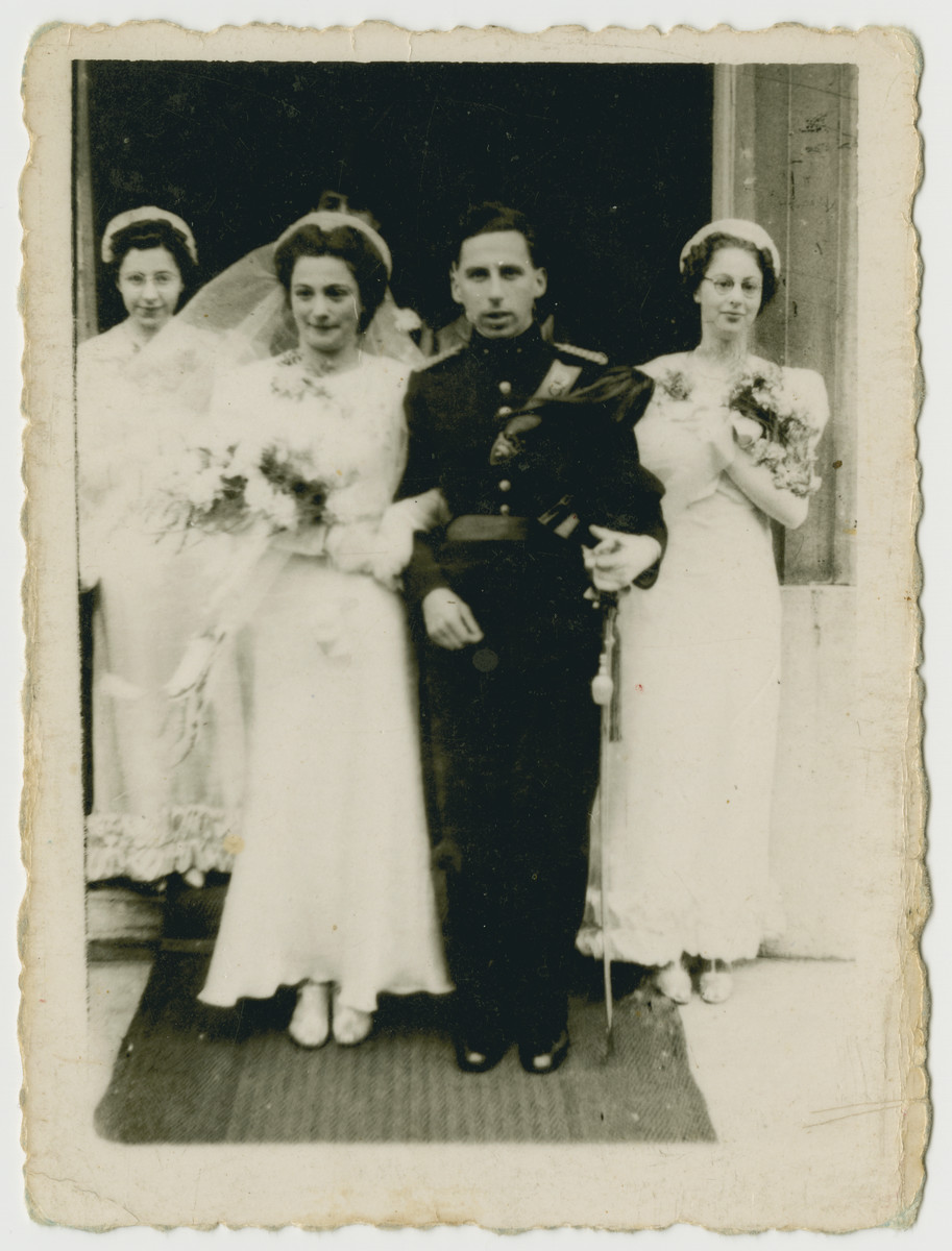 Wedding celebration of Joseph and Heika Straus.    Joseph's sister Betty is on the left, and Heika's sister is on the right.