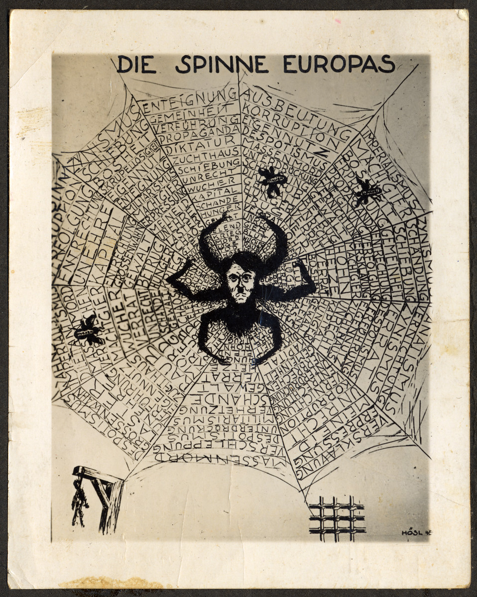 Ani-Nazi caricature showing Hitler as a spider spinning a web across Europe.