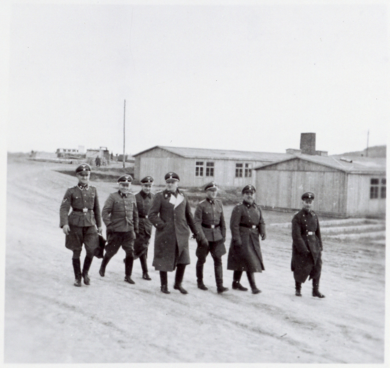 SS-Brigadefuehrer Richard Gluecks, the Inspector of Concentration Camps, pays an official visit to Gross-Rosen.  This was probably taken shortly before Gross-Rosen became an independent concentration camp.  Prior to May 1, 1944 it was a sub-camp of Sachsenhausen.
