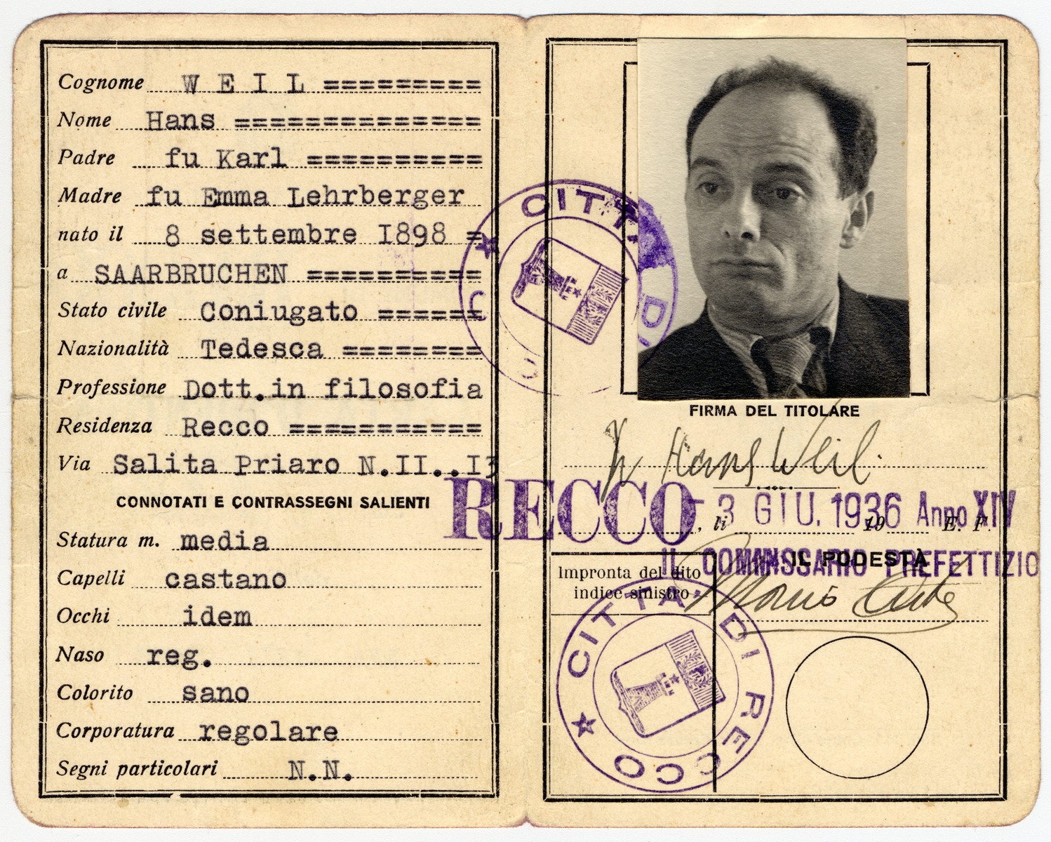 Identification paper issued to Dr. Hans Weil, A German Jewish educator who immigrated to Italy.