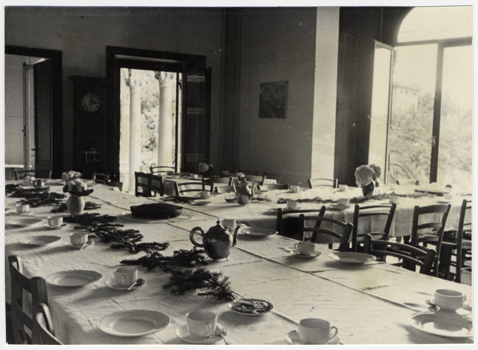 Interior view of the dining room of the Mediterranean School in Recco, Italy.