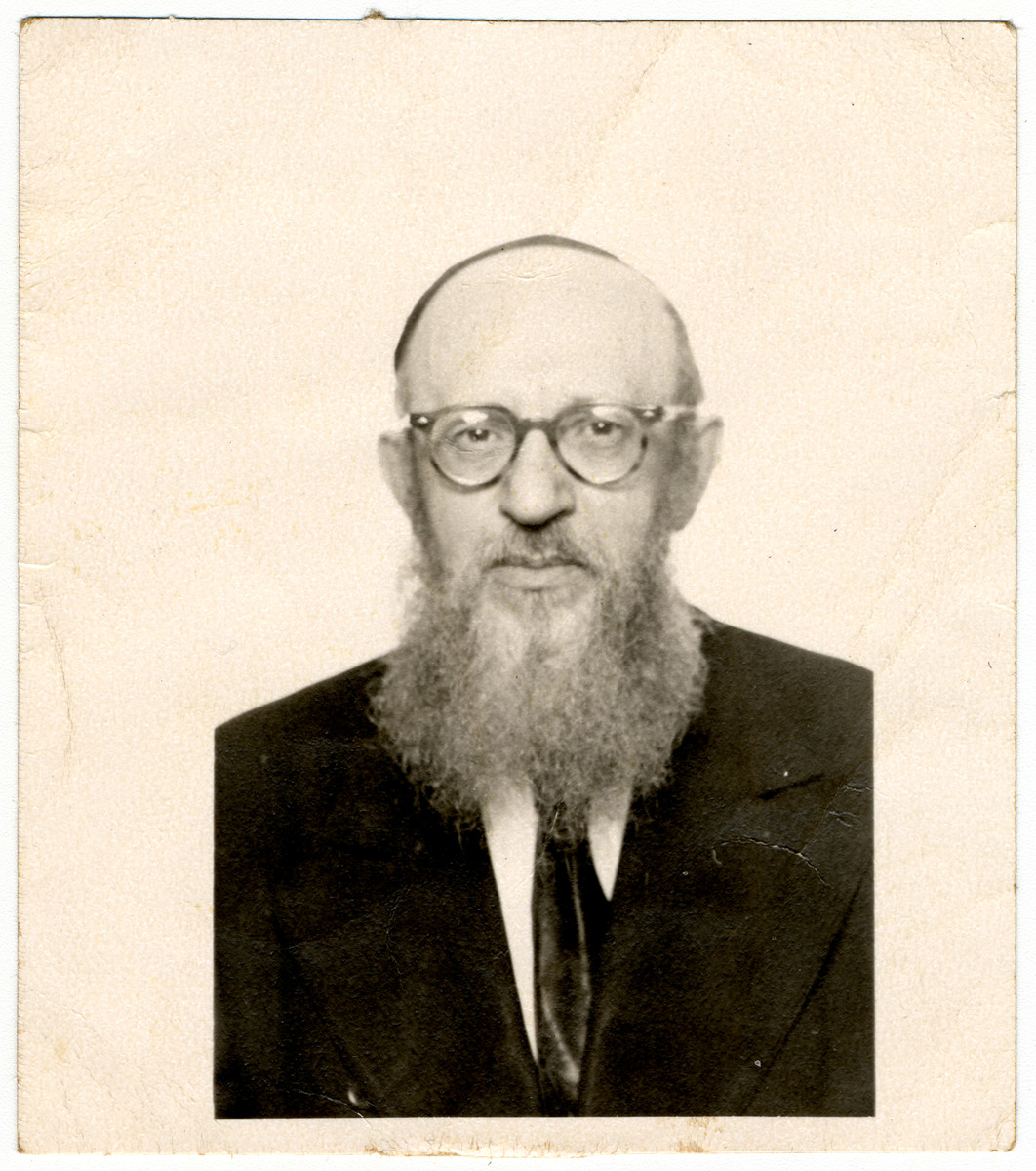 Studio portrait of Rabbi Zalman Schneerson, the leader of Orthodox Jewry in France.