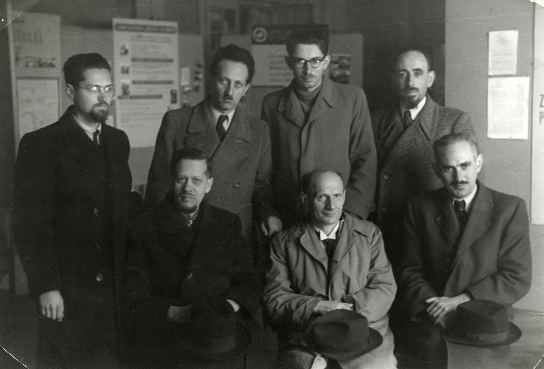 Group portrait of Neolog Rabbis who came to Switzerland on the Kasztner transport to help other Jews to escape.  Pictured are: Top row left to right,  Dr. [Josef] Schindler (Ketchekenet),  Dr. [Adolf] Silberstein (Varschey), Dr. [Odon] Szabo and Dr. Weisz.  Bottom row: Dr. Jeno Frenkel (Szeged), Dr. Protestzult and Dr. [Farkas] Engel (Cegled).