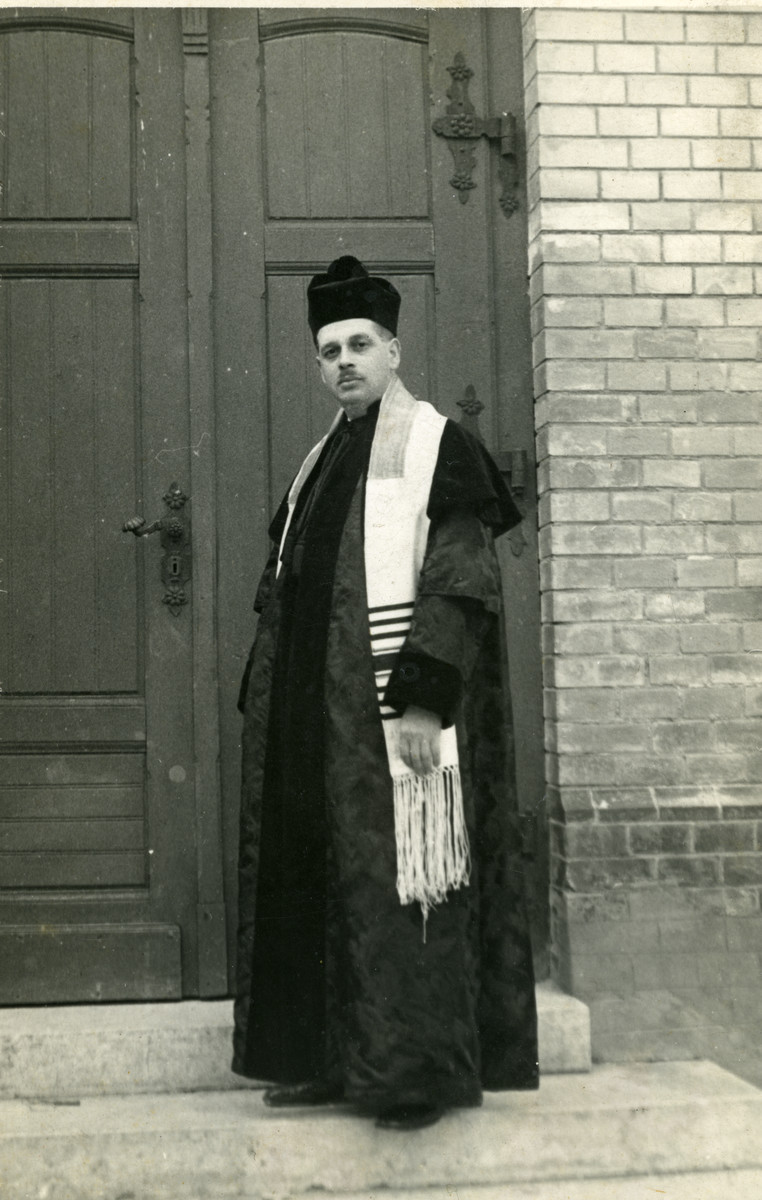 Close-up portrait of Dr. Erne Frenkel, the Rabbi in Bicsk (near Budapest).  He later perished in the Holocaust.
