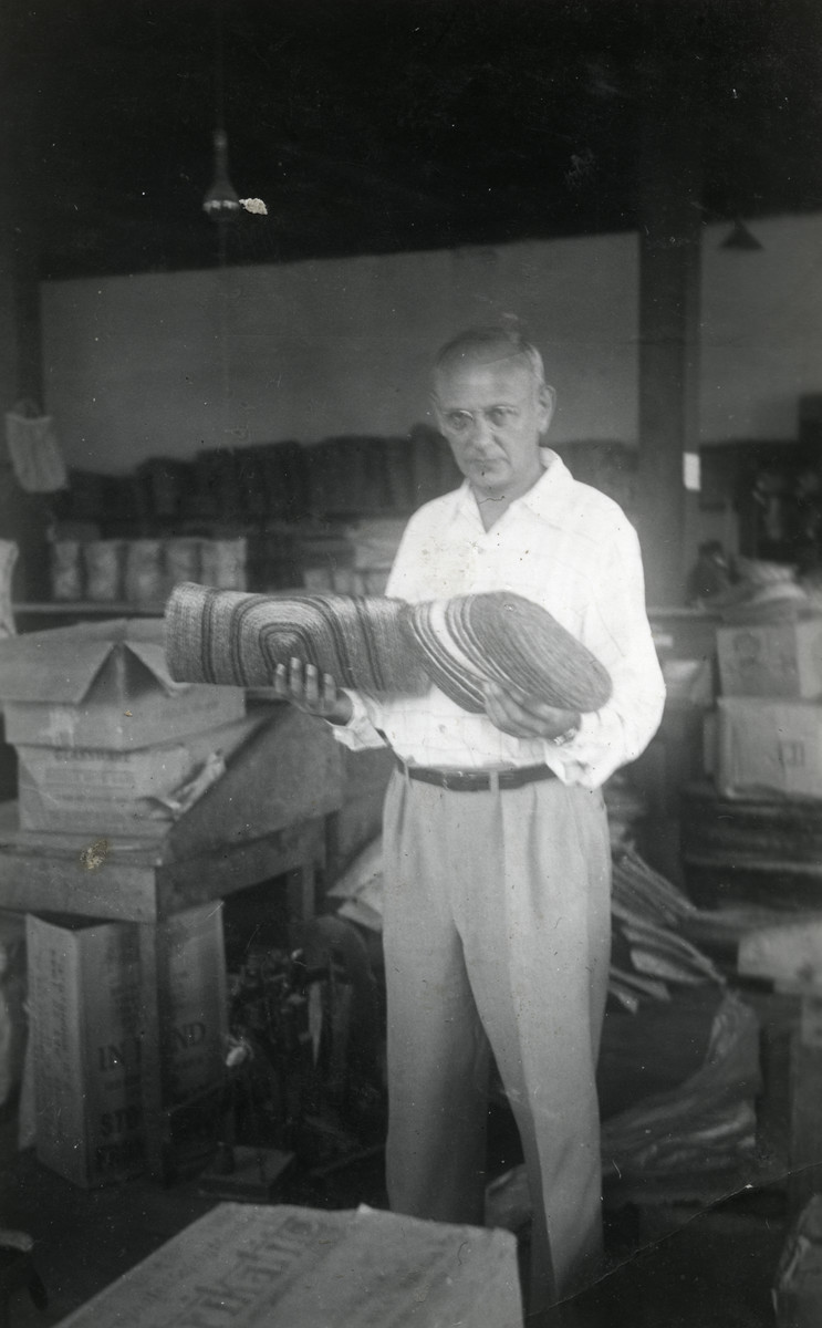A man holds hemp factory products for export to the United States.