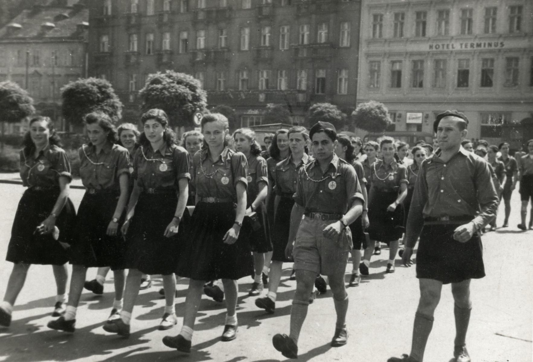 Zionist youth parade in Karlovy Vary.