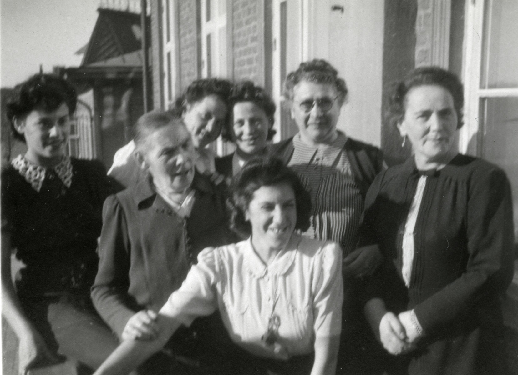 The Newmann family celebrates the engagement of Astrid Newmann to Elias Feigen.  Astrid Newman is in the center.  Also pictured are her sister Rachel, Rachel Feigen and Berta Newman.  The older woman to Astrid's left is a Norwegian Jewish refugee, Mere Abramson.