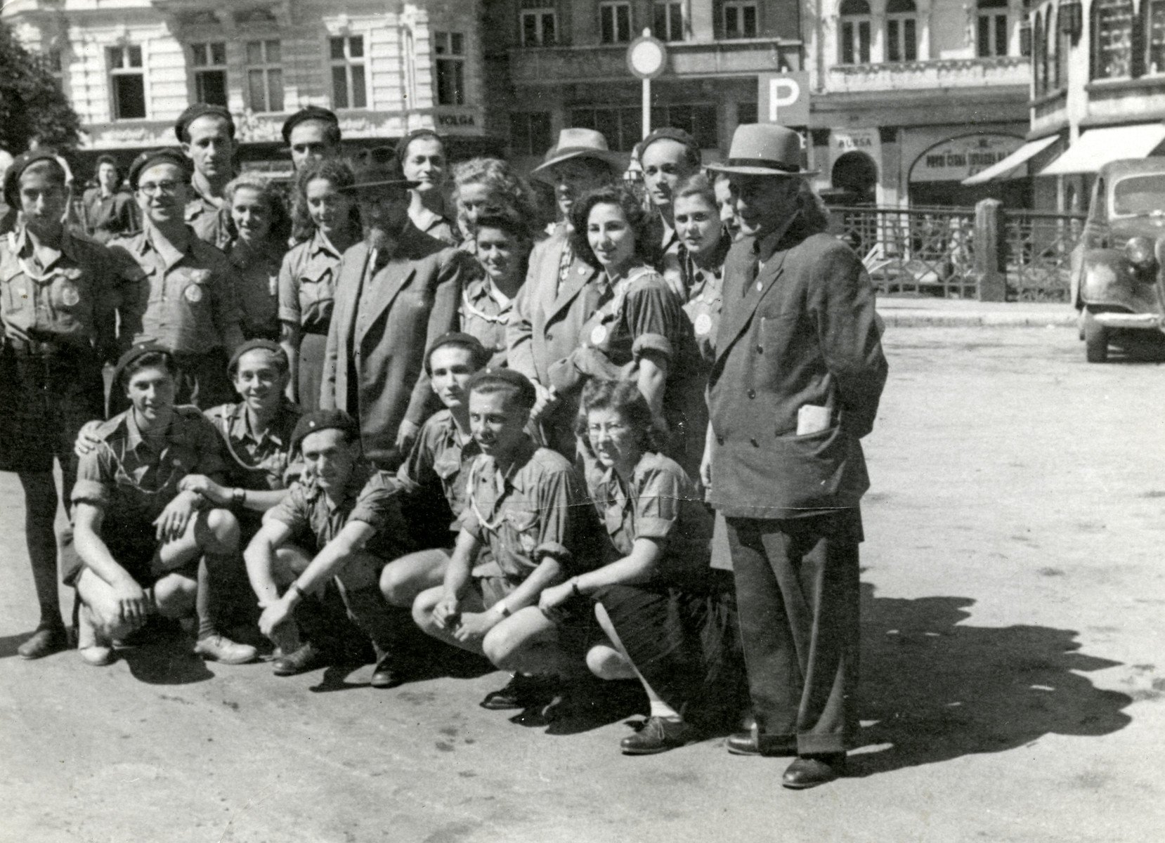 Zionist youth pose on a street in Karlovy Vary.  David Zigmund Steiner is pictured front row, fourth from left.