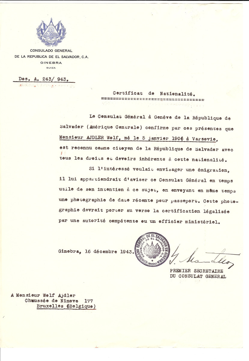 Unauthorized Salvadoran citizenship certificate issued to Wolf Adler (b. January 1906 in Warsaw) by George Mandel-Mantello, First Secretary of the Salvadoran Consulate in Switzerland and sent to his residence in Brussels.
