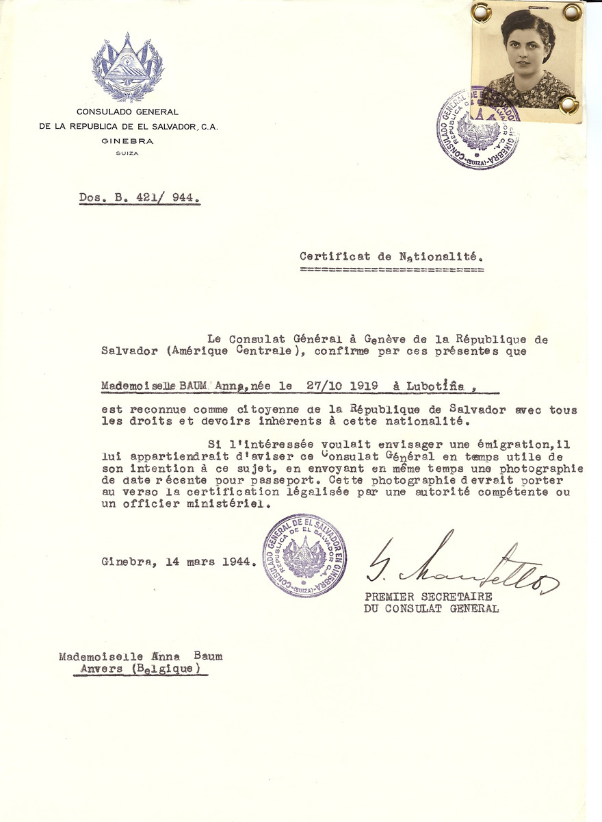 Unauthorized Salvadoran citizenship certificate issued to Anna Baum (b. October 27, 1910 in Lubotine) by George Mandel-Mantello, First Secretary of the Salvadoran Consulate in Switzerland and sent to her residence in Antwerp.