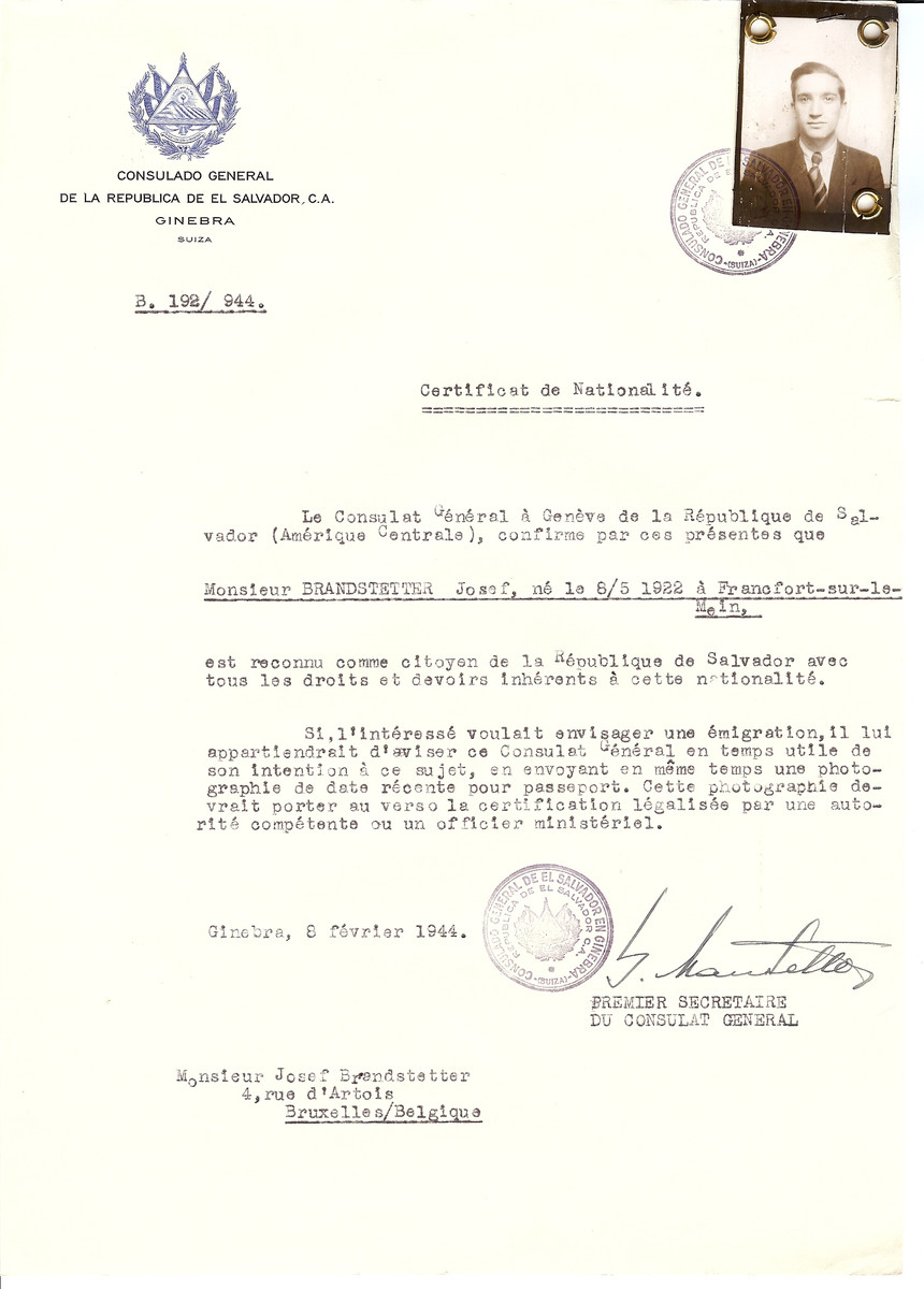 Unauthorized Salvadoran citizenship certificate issued to Josef Brandstetter (b. May 8, 1922 in Frankfurt) by George Mandel-Mantello, First Secretary of the Salvadoran Consulate in Switzerland and sent to his residence in Brussels.