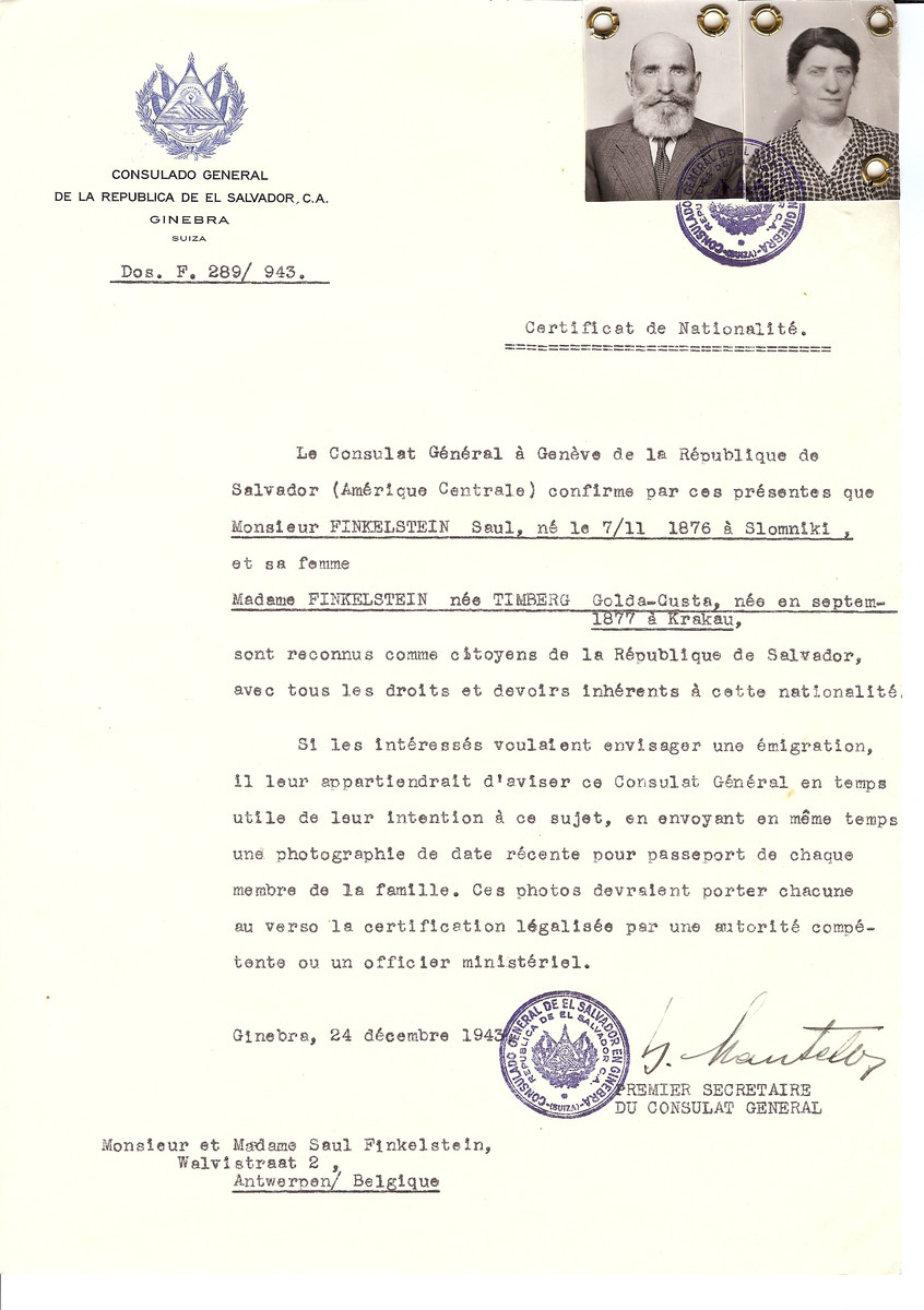 Unauthorized Salvadoran citizenship certificate issued to Saul Fineklstein (b. November 7, 1876 in Slomniki) and his wife Golda-Gusta (nee Timberg) Finkelstein (b. September 1977 in Krakow) by George Mandel-Mantello, First Secretary of the Salvadoran Consulate in Switzerland and sent to their residence in Antwerp.