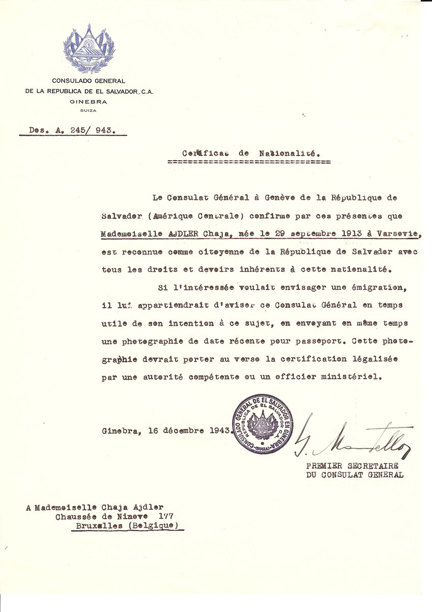 Unauthorized Salvadoran citizenship certificate issued to Chaja Adler (b. September 29, 1913 in Warsaw) by George Mandel-Mantello, First Secretary of the Salvadoran Consulate in Switzerland and sent to her residence in Brussels.