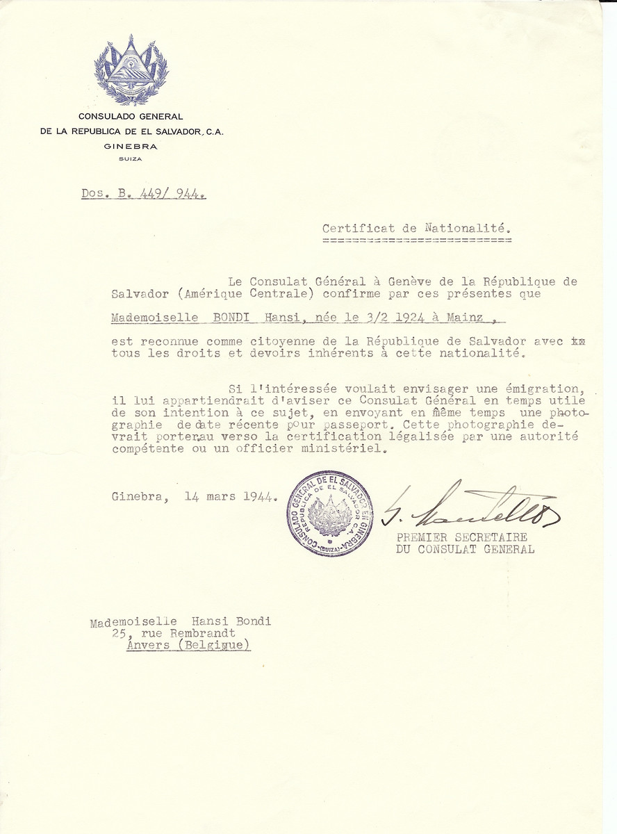 Unauthorized Salvadoran citizenship certificate issued to Hansi Bondi (b. February 3, 1924 in Mainz) by George Mandel-Mantello, First Secretary of the Salvadoran Consulate in Switzerland and sent to her residence in Antwerp.