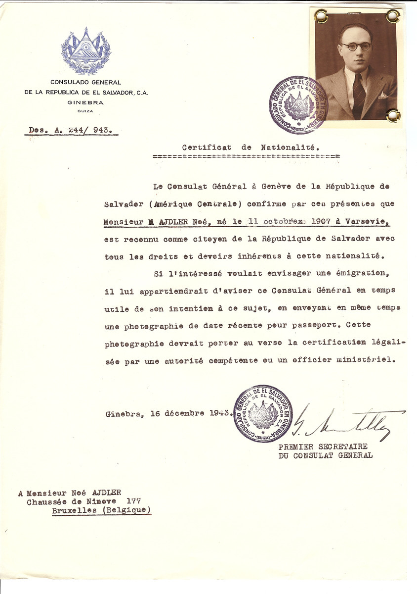 Unauthorized Salvadoran citizenship certificate issued to Noe Adler (b. October 11, 1907 in Warsaw) by George Mandel-Mantello, First Secretary of the Salvadoran Consulate in Switzerland and sent to his residence in Brussels.