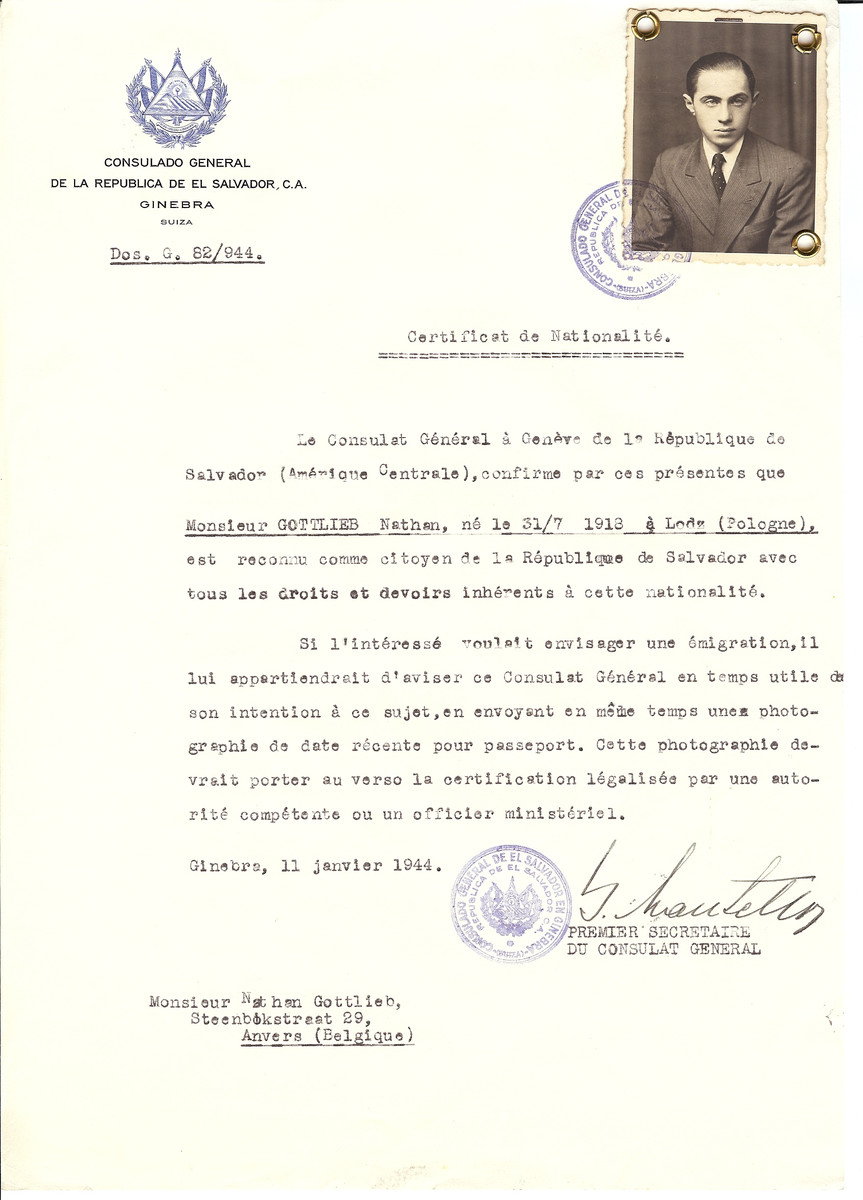 Unauthorized Salvadoran citizenship certificate issued to Nathan Gottlieb (b. July 31, 1913 in Lodz) by George Mandel-Mantello, First Secretary of the Salvadoran Consulate in Switzerland and sent to his residence in Antwerp.