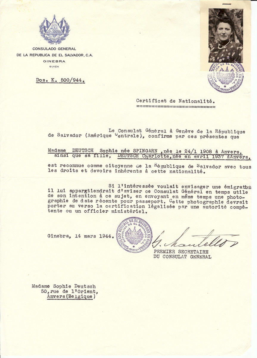 Unauthorized Salvadoran citizenship certificate issued to Sophie (nee Spingarn) Deutsch (b. January 24, 1908 in Antwerp and her daughter Charlotte Deutsch (b. April 1937 in Antwerp) by George Mandel-Mantello, First Secretary of the Salvadoran Consulate in Switzerland and sent to their residence in Antwerp.