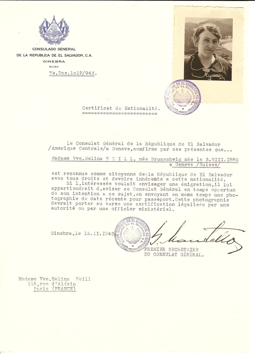 Unauthorized Salvadoran citizenship certificate issued to Melina (nee Brunschwig) Weill (b. August 3, 1880 in Geneva) by George Mandel-Mantello, First Secretary of the Salvadoran Consulate in Switzerland and sent to her residence in Paris.