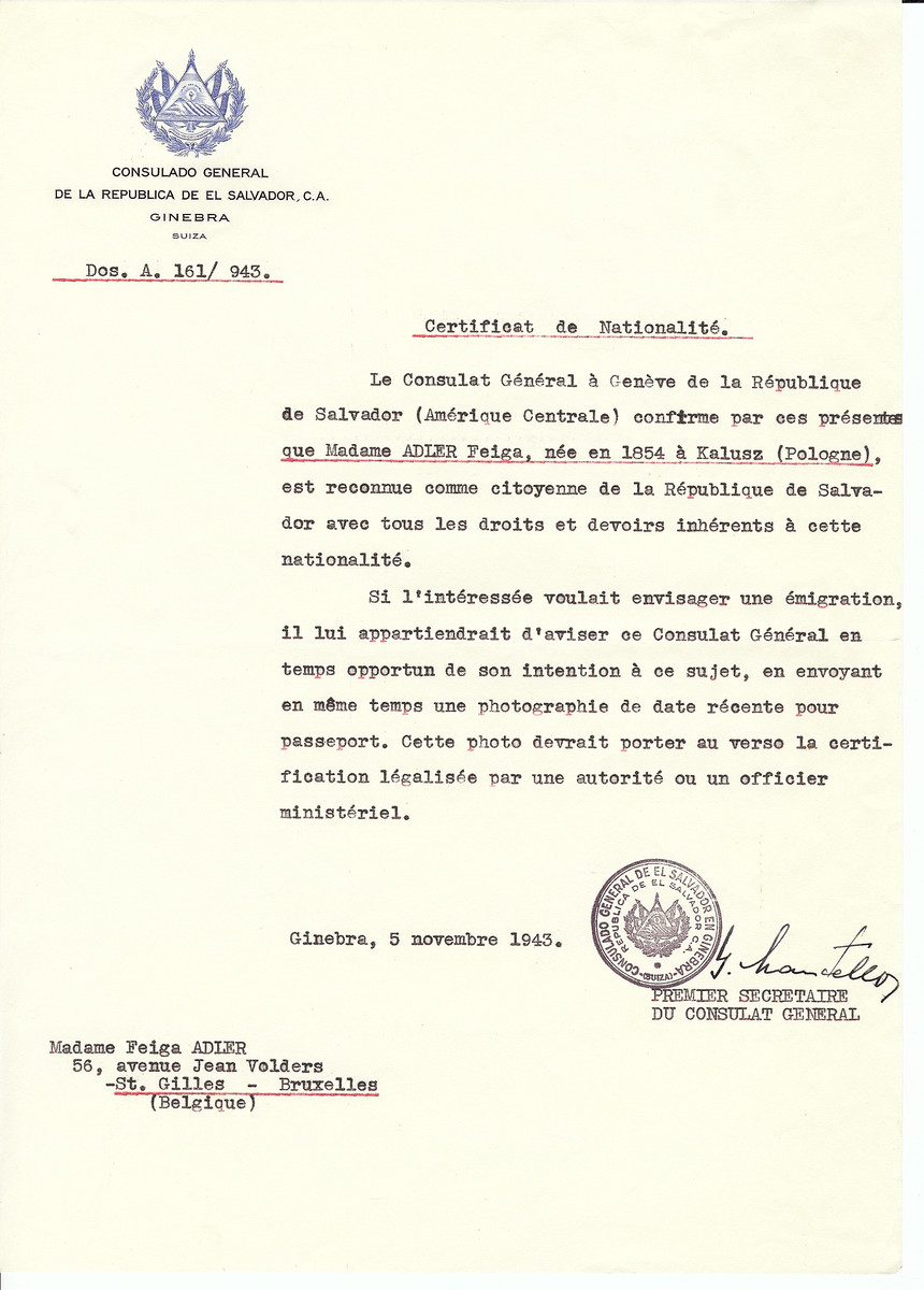 Unauthorized Salvadoran citizenship certificate issued to Feiga Adler (b. 1854 in Kalusz) by George Mandel-Mantello, First Secretary of the Salvadoran Consulate in Switzerland and sent to her residence in Brussels.