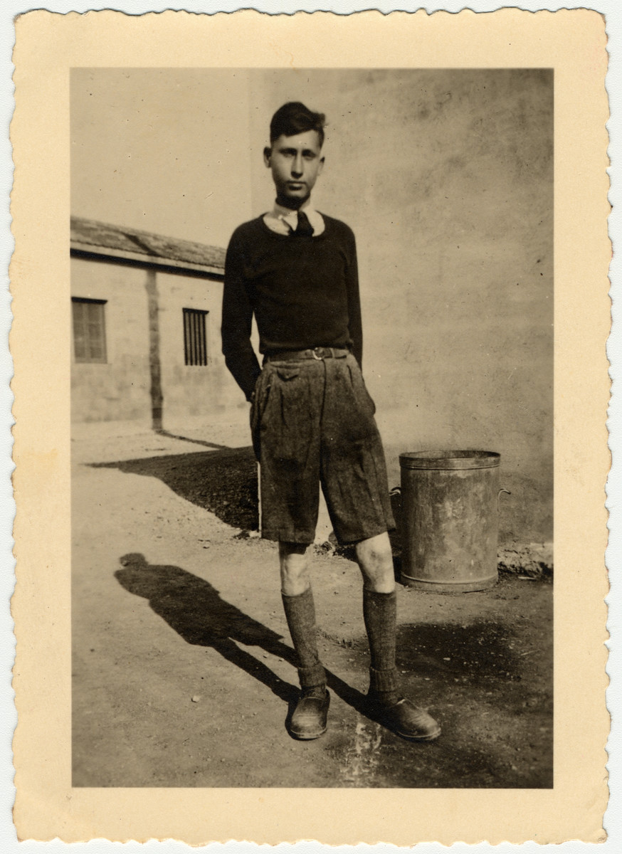 Kurt Heilbronner (brother of the donor), a Jewish teenager from Germany, poses in the Rivesaltes internment camp.