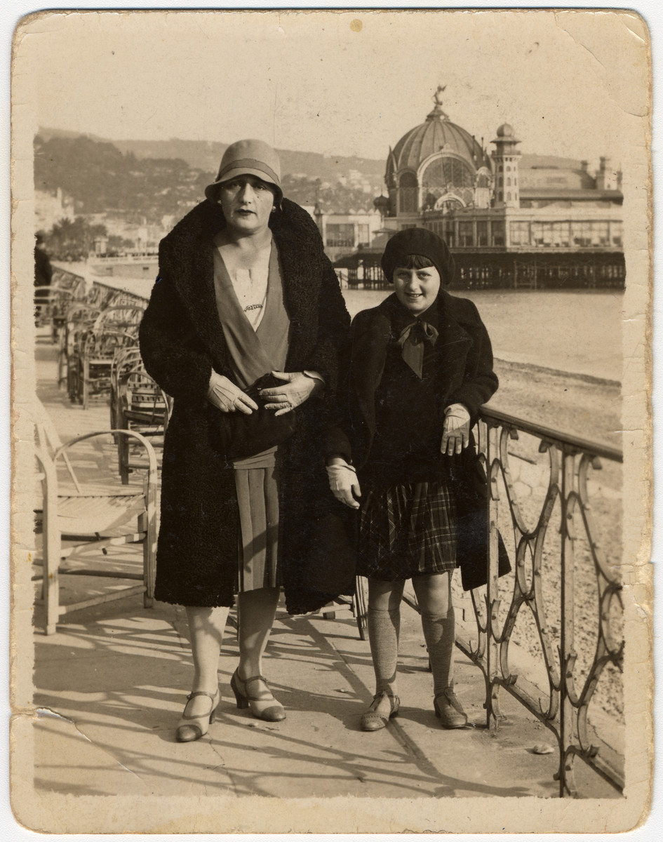 Gertrude nee Remz, and Frances Wolf vacation in Nice while on a trip to Eisiskes to visit their family.  Gertrude was born in Eisiskes and immigrated to the United States.