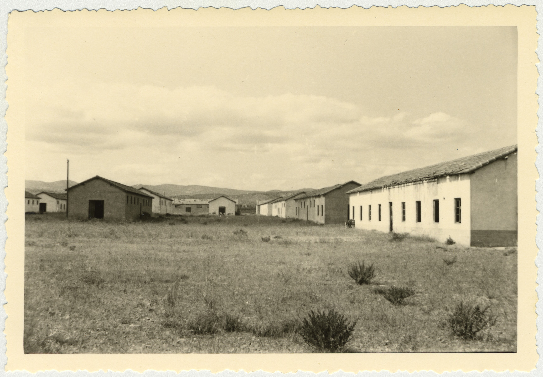 Postwar photograph fo the barracks in the Rivesaltes internment camp.