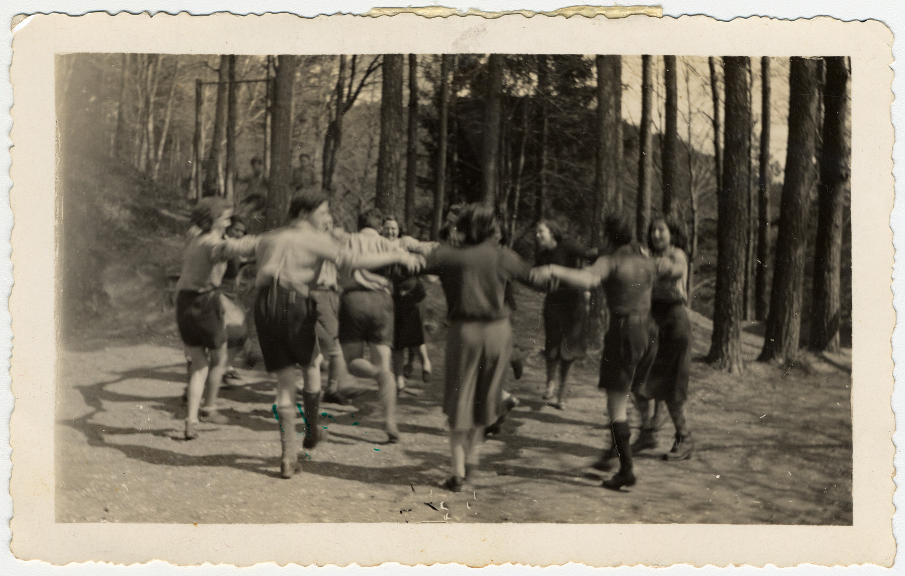 Zionist youth dance a hora in the woods in Switzerland.