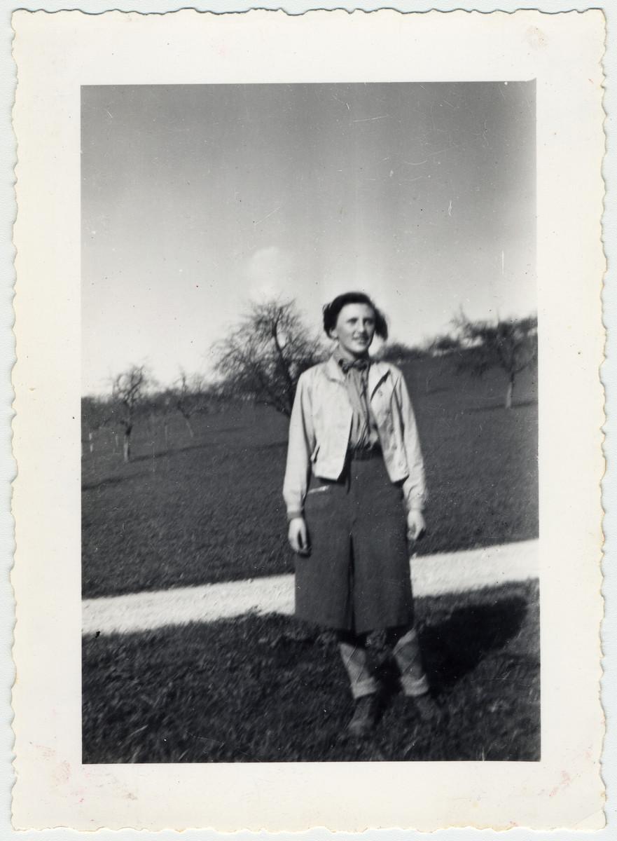Gerda Jakubowitch in a field in Elgg, Switzerland.
