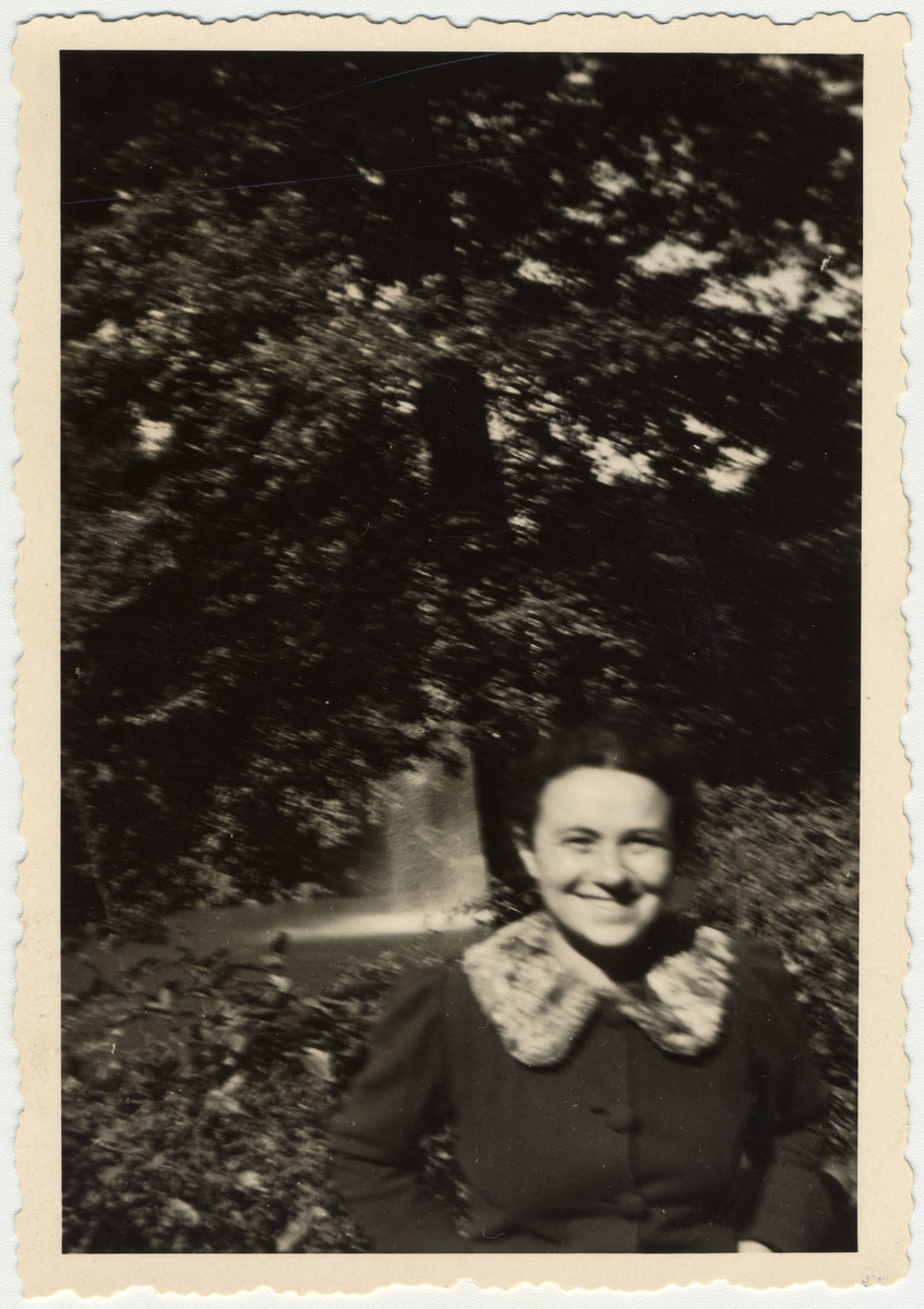 Ruth Rappaport's friend Mirjam smiles for the camera at Schwanenteich in Leipzig, Germany.