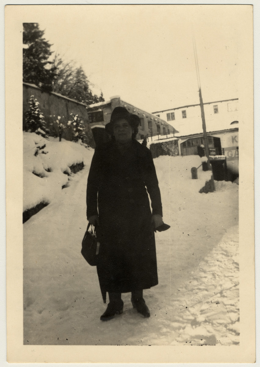 Ruth Rappaport's mother poses on a snowy street in St. Moritz, Switzerland.