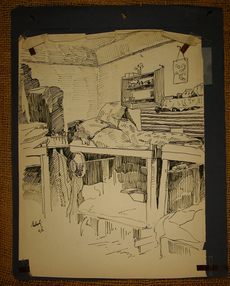 Pen and ink drawing of the sleeping quarters in Theresienstadt pasted into a scrapbook of Margaret Grunbaum about her experiences in the camp.