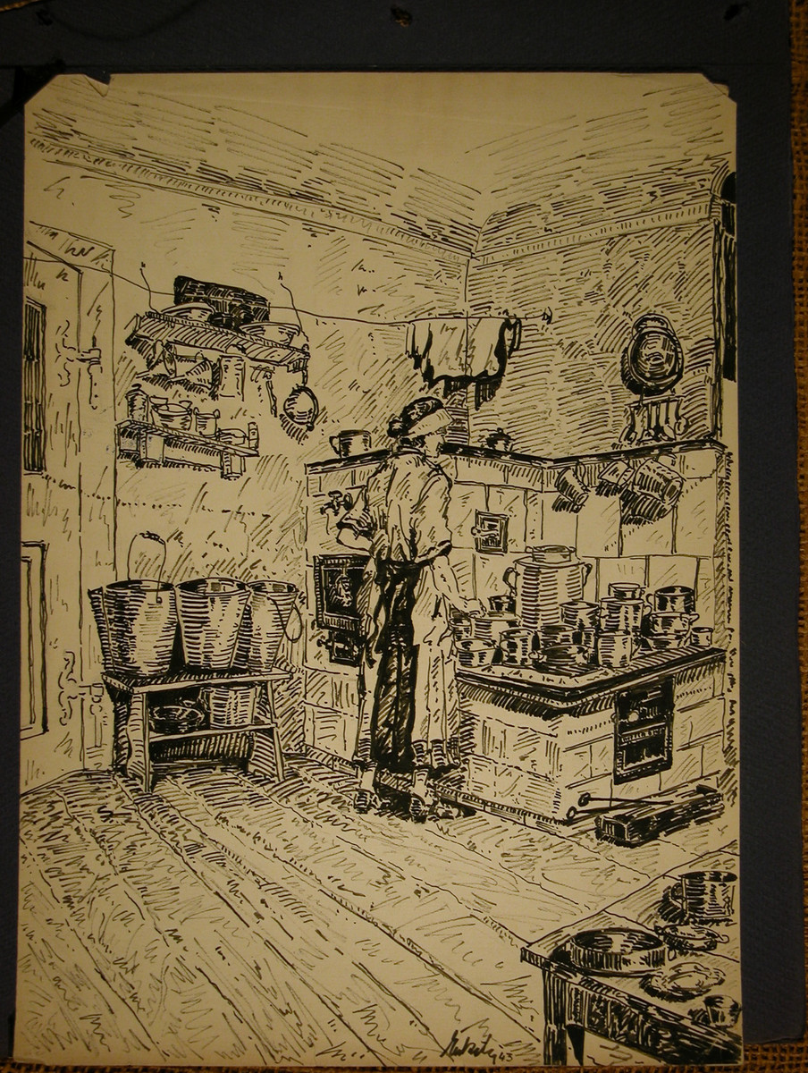 Pen and ink drawing of a woman cooking in a kitchen saved in the scrapbook of Margaret Gruenbaum in Theresienstadt.