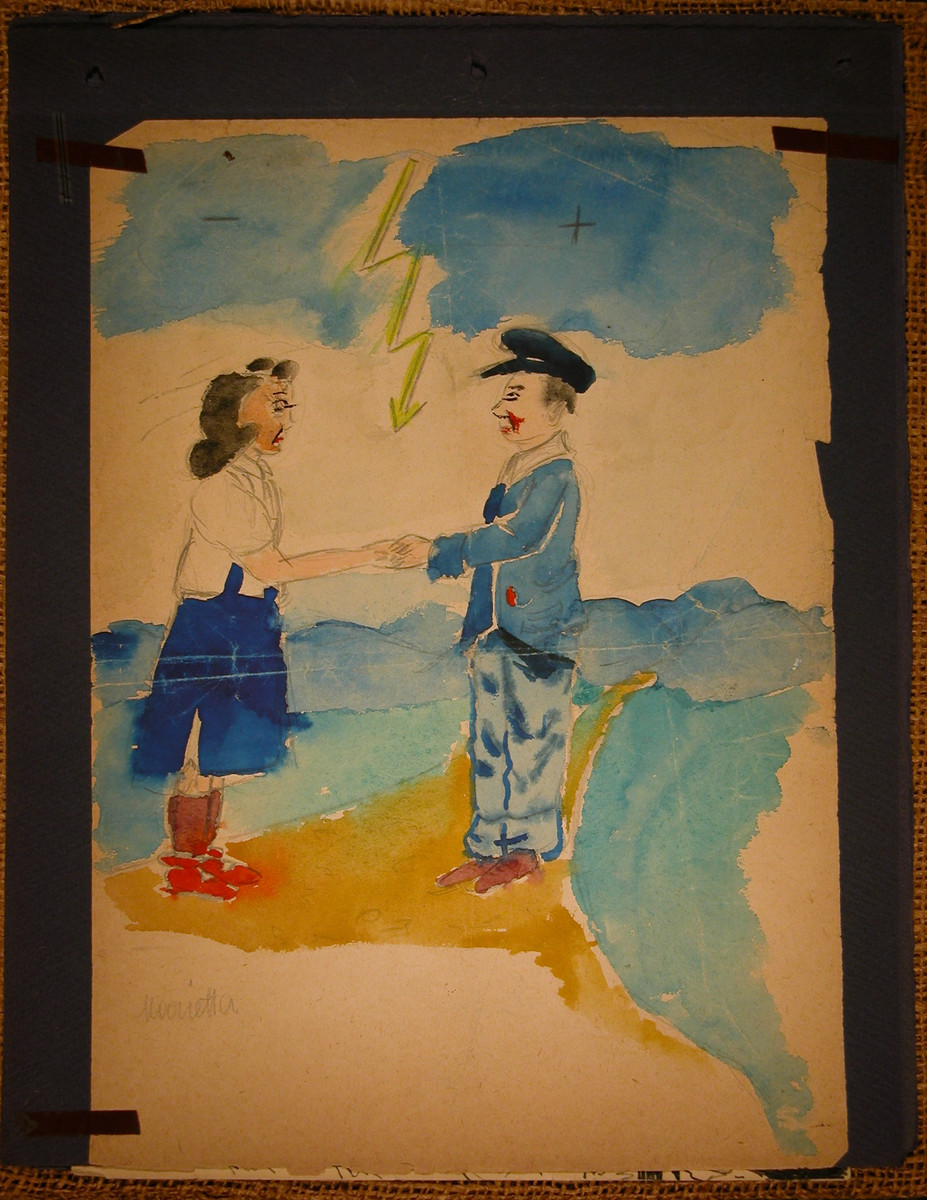 Watercolor of a man and woman shaking hands under a lightning bolt.  This painting was made by Marietta Grunbaum in Theresienstadt and then pasted into an album by her mother shortly after liberation.