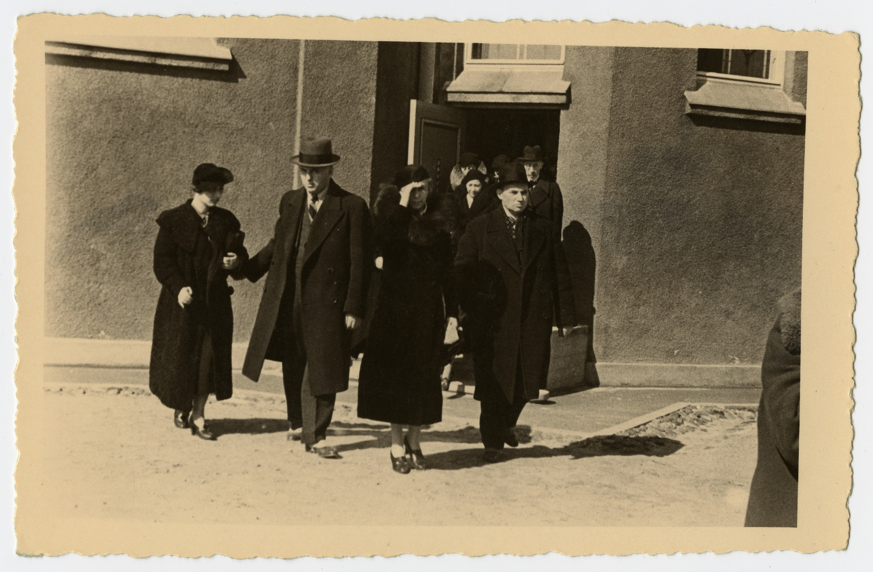 Mourners walk to the gravesite prior to the burial of Freida Albin.  Among those pictured are in frront:  Dr. Jacobsohn, Mr. Klein, and Mrs. Rosenthal.