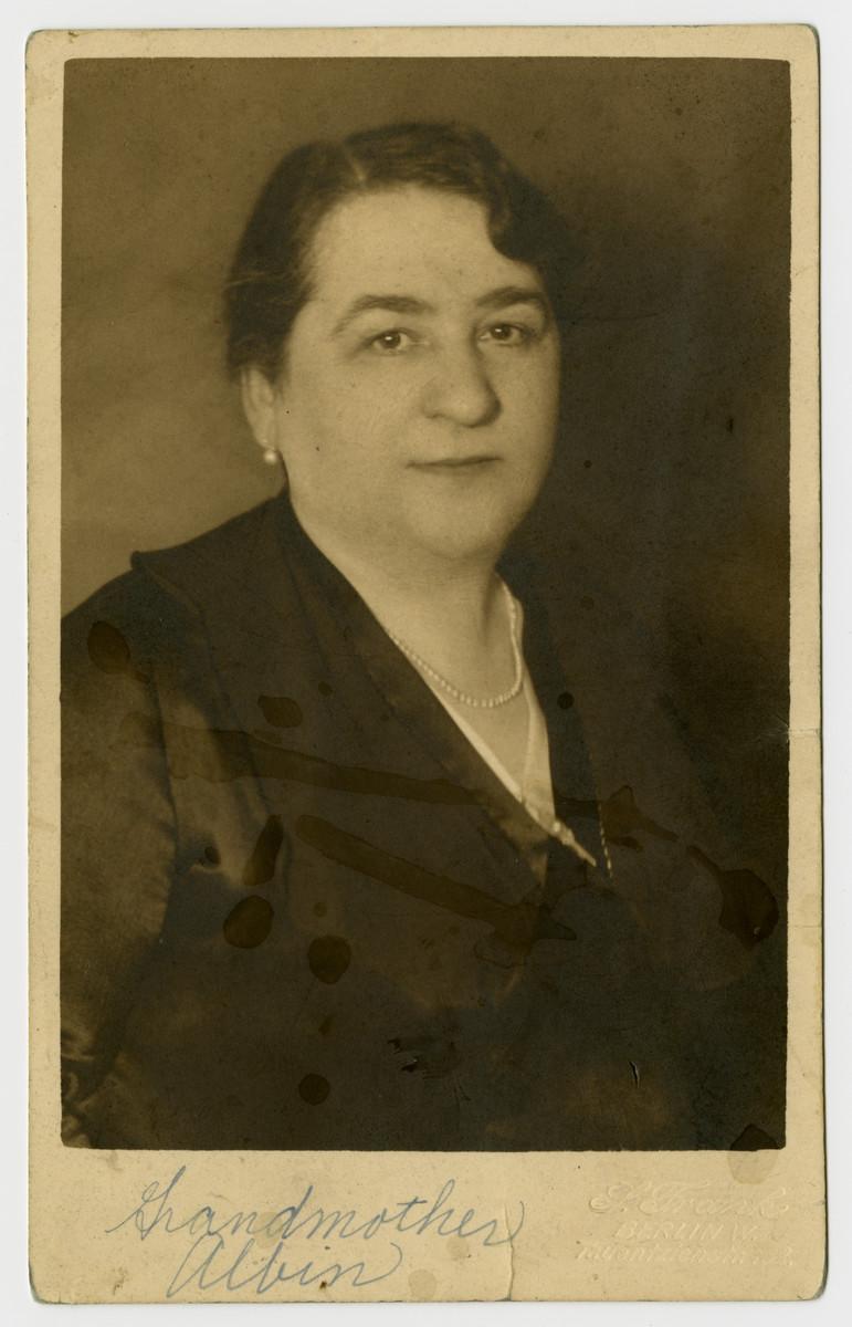 Studio portrait of Freida Albin.