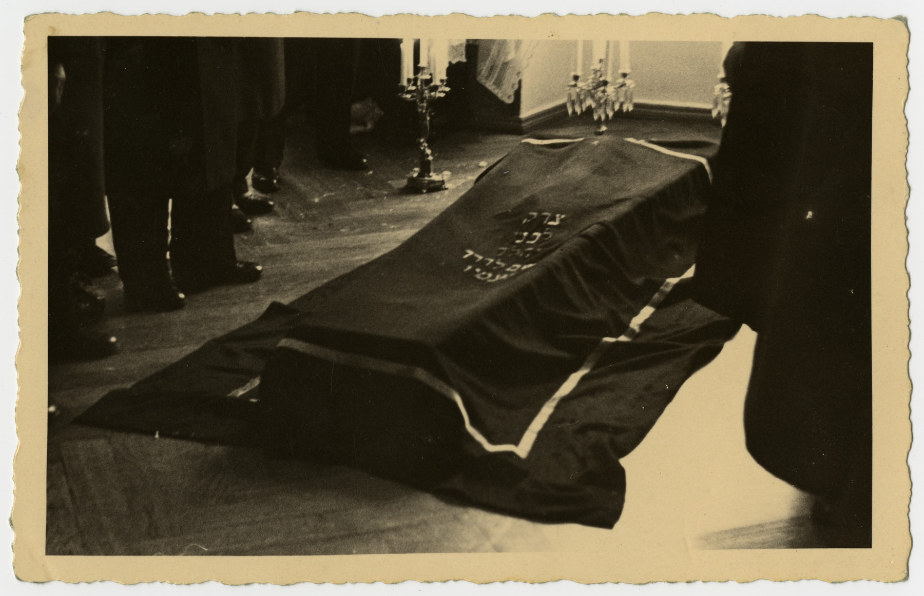 The body of Freida Albin lies in state prior to the funeral.