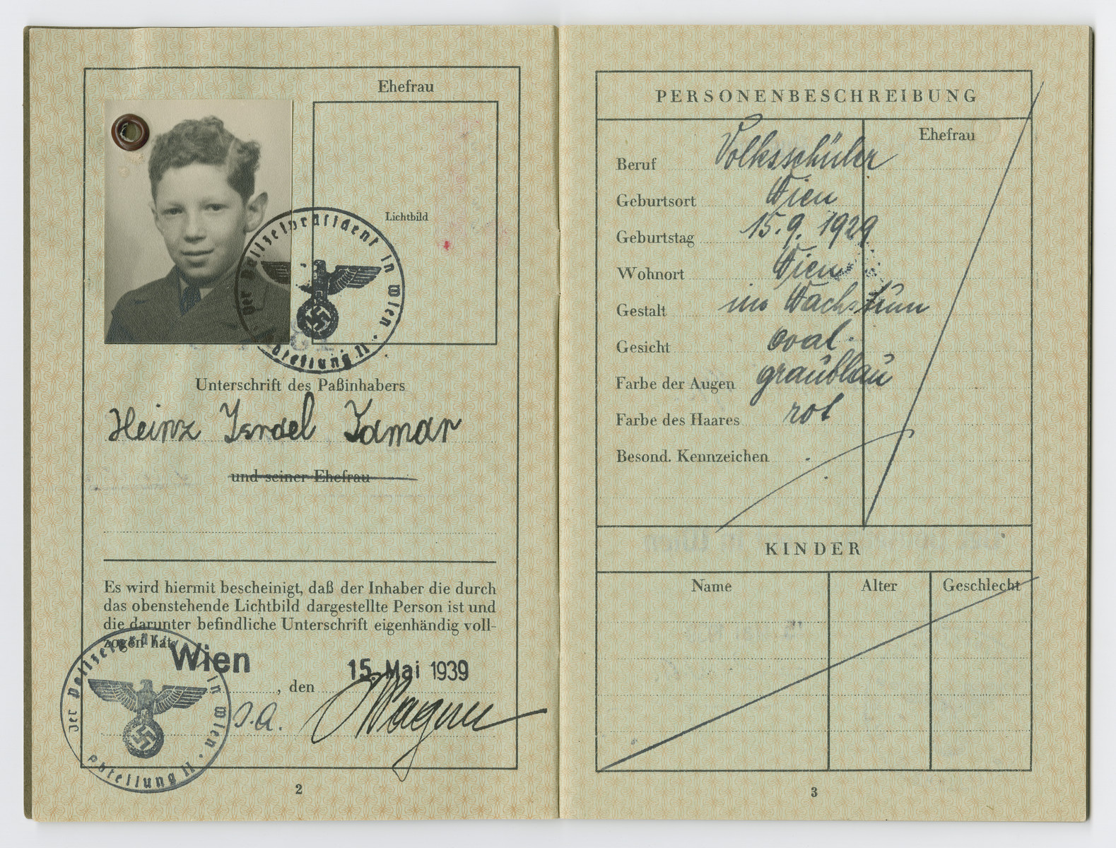 Identification papers issued to Heinz Israel Tamar born September 15, 1929.  Israel was not his real middle name, but on August 17, 1938 Nazi officials ordered that all Jewish men assume the middle name Israel, and all Jewish women take the middle name Sara
