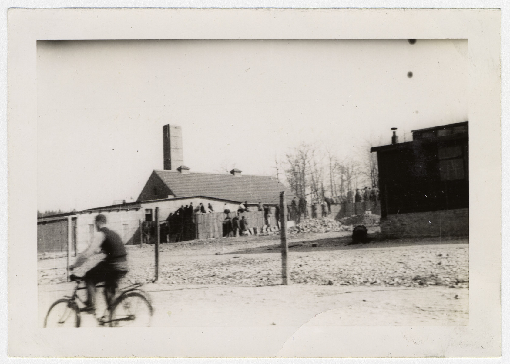 "A German civilian rides past the Buchenwald perimeter after liberation.  Original caption reads:  ""Morbid curiosity impells visitors to look over the fence and view scenes like those on the left""."