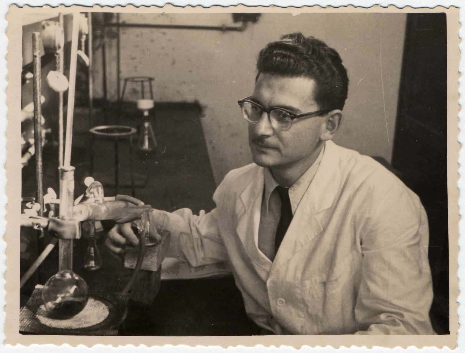 Albert Farhi works in a chemistry lab at the Technion in Haifa.