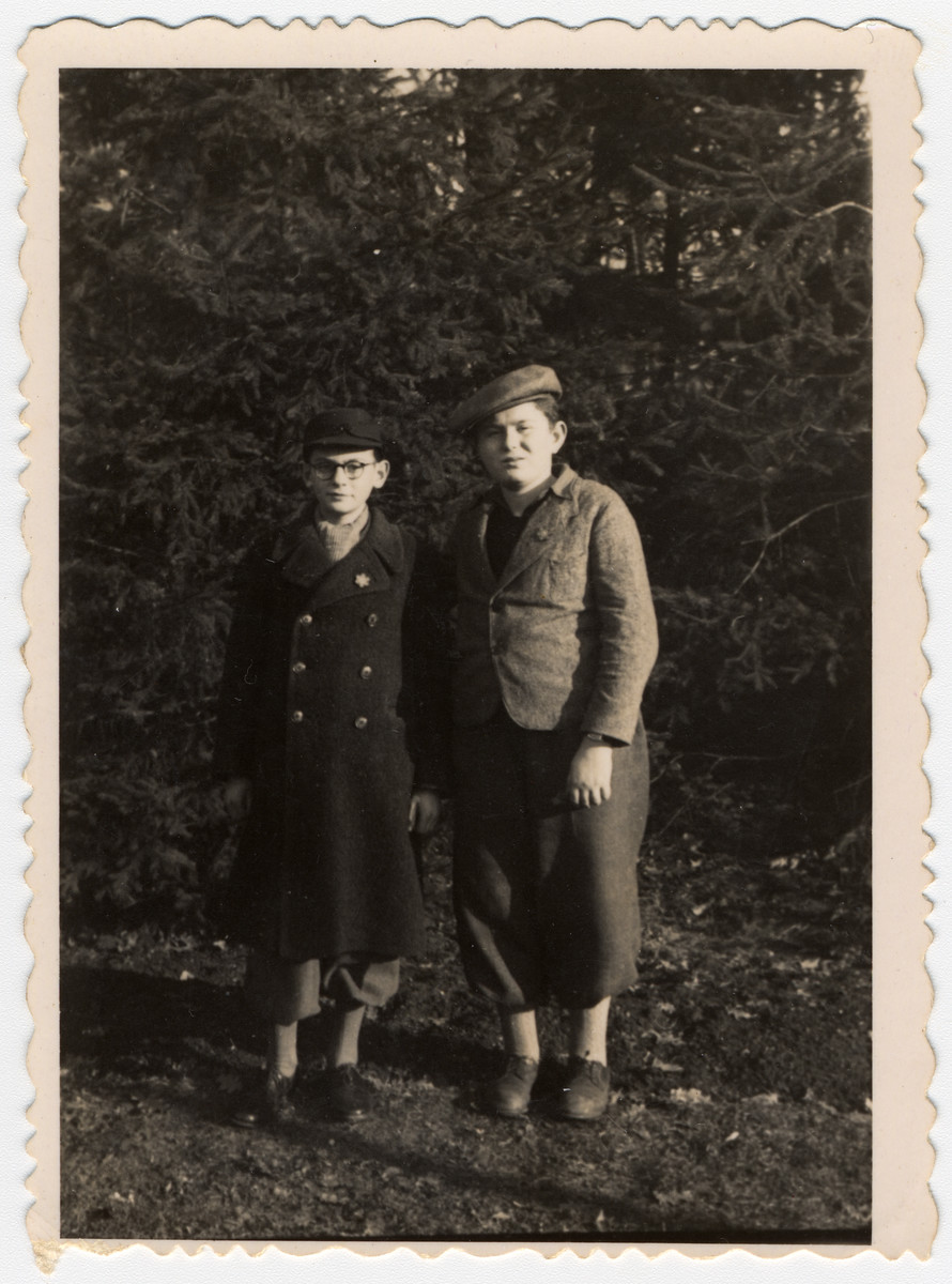 Two Jewish boys pose together in a park in Sofia wearing stars of David.  Pictured are Albert Farhi and Israel Borouchof.