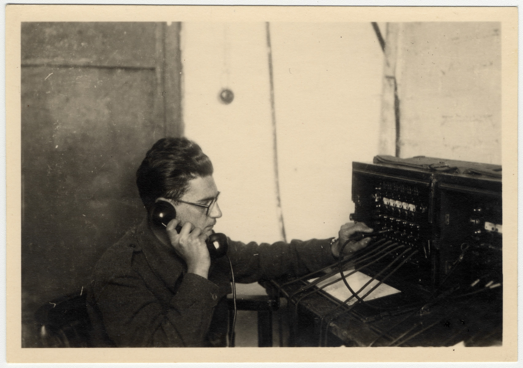 Albert Farhi operates a radio in the Israeli army.