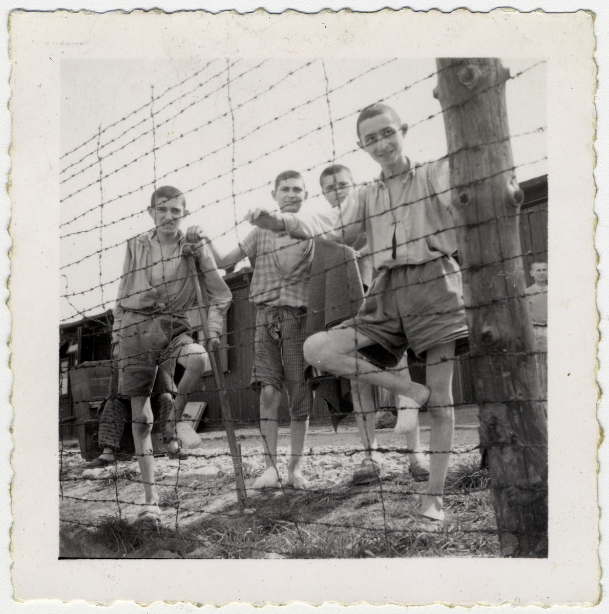 Four young Buchenwald survivors stand next to a barbed wire fence.