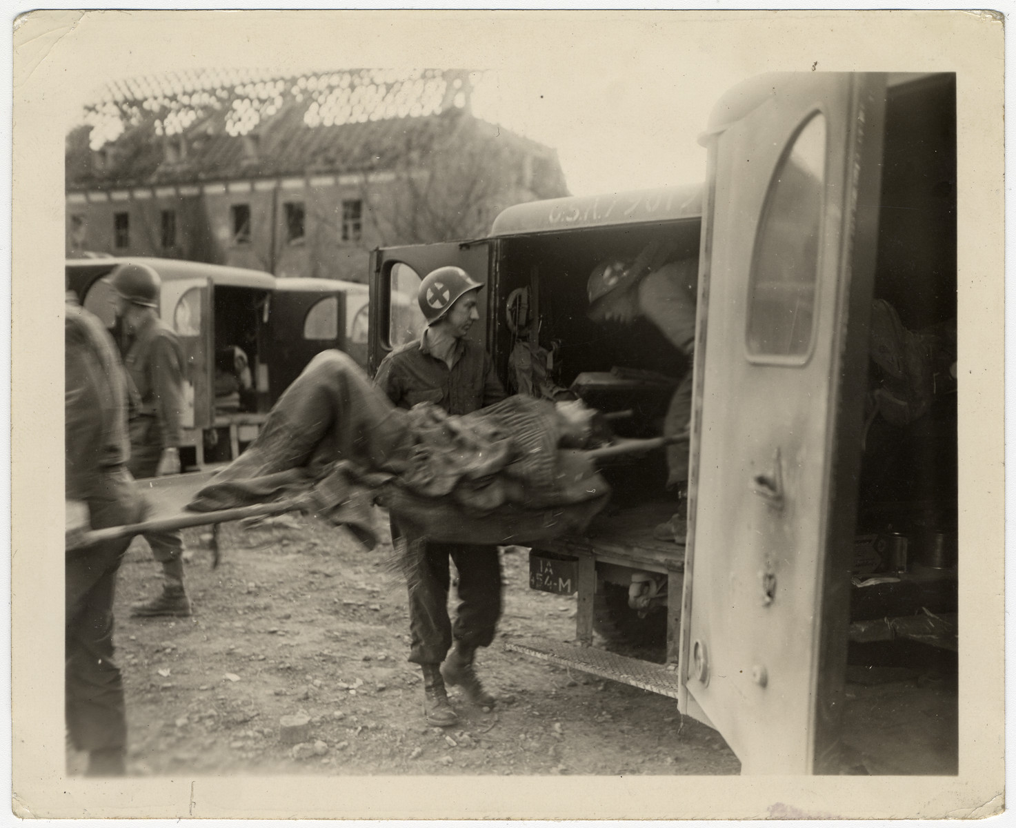 American medics evacuate survivors from the Nordhausen concentration camp.