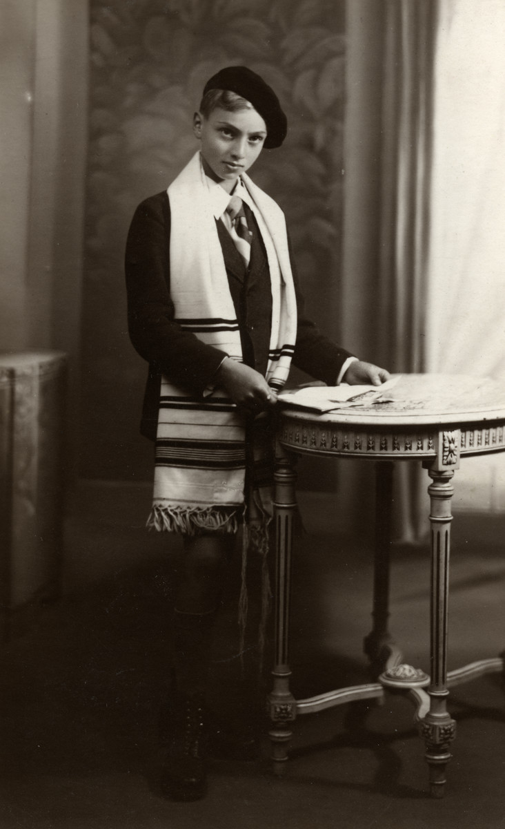 Studio portrait of Gerard Horst Meyerfeld (donor's cousin) on the day of his Bar Mitvah.