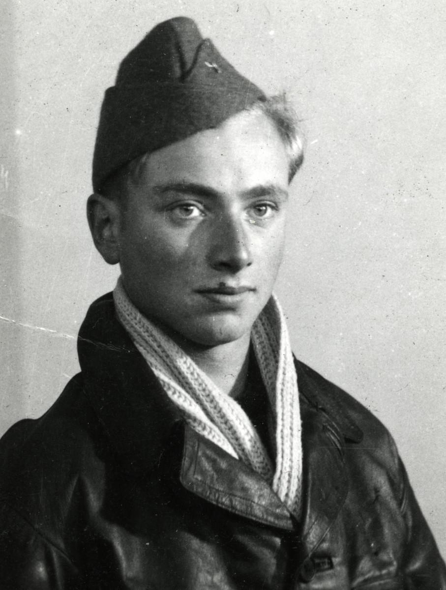 Close-up portrait of Gerard Horst Meyerfeld (donor's cousin) in his FFI uniform, Forces Francaises de l'Interieur.