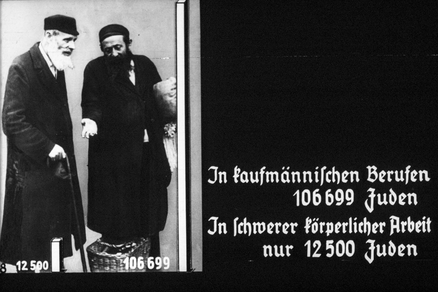 "8th Nazi propaganda slide of a Hitler Youth educational presentation entitled ""Germany Overcomes Jewry.""  In kaufmännischen Berufen 106699 Juden/ In schwerer körperlicher Arbeit nur 1200 Juden // In the business sector 106,699 Jews/ In heavy physical work only 1,200 Jews"