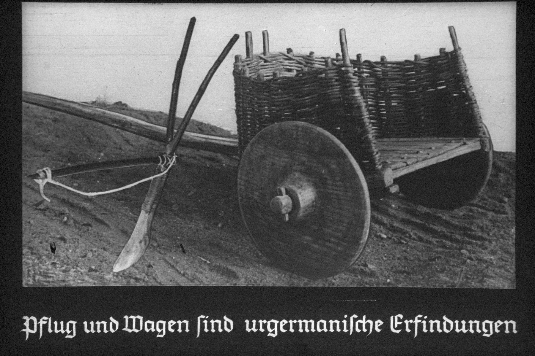 "9th Nazi propaganda slide for a Hitler Youth educational presentation entitled ""5000 years of German Culture.""  Pflug und Wagen sind urgermanische Erfindungen // Plow and wagon are Primitive Germanic inventions"